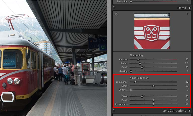 Noise reduction in Adobe lightroom