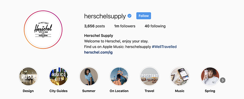 Example of a famous Instagram shop called Herschelsupply